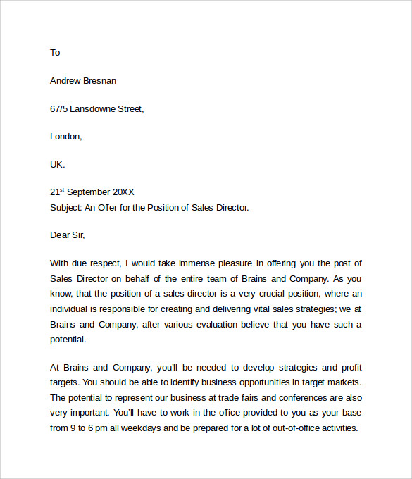 sample offer letter format