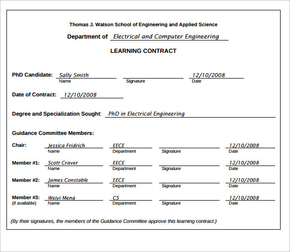 example learning contract
