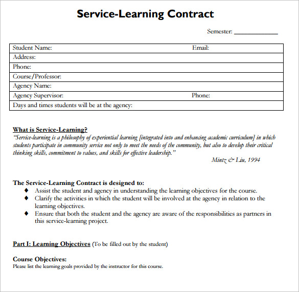 15 learning contract templates to download for free for Student teacher contract template