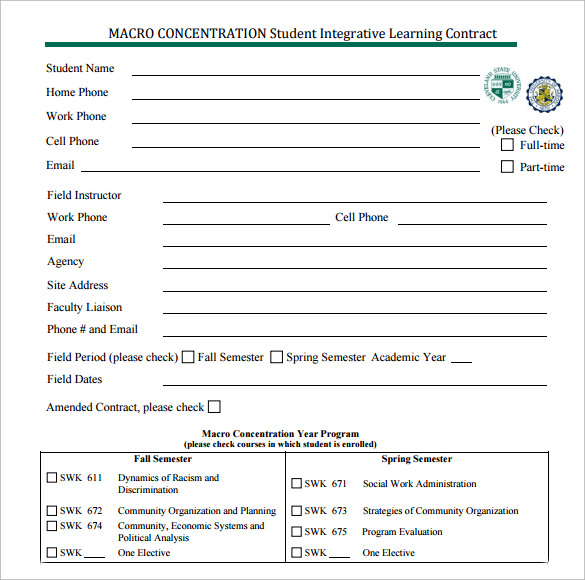 student integrative learning contract
