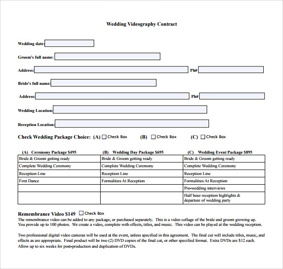 Wedding Contract Template 23 Download Documents In Pdf