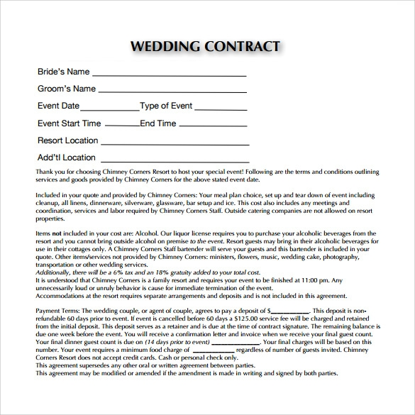 Marvelous Sample PDF Wedding Contract Template Awesome Ideas