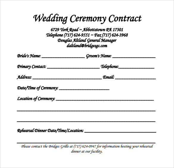 wedding contract template download