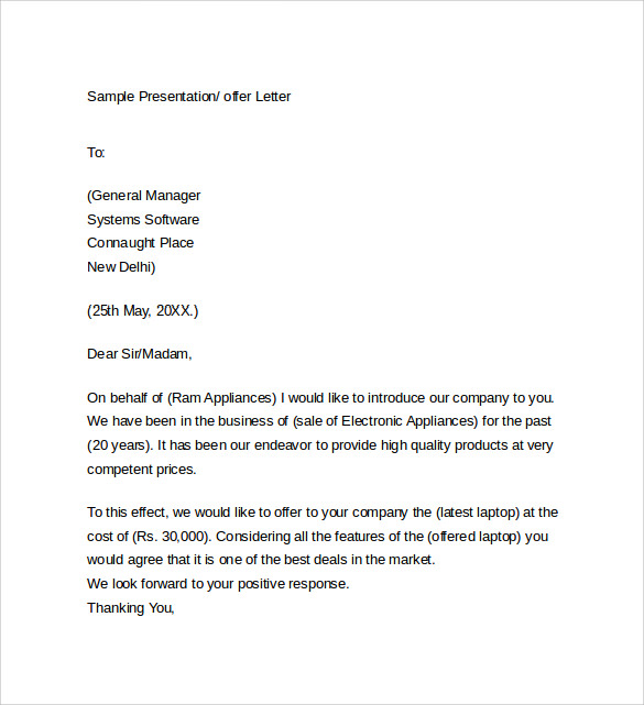 Sample Offer Letter Templates   Free  Examples  Format