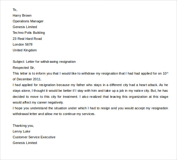 Withdrawal letter resignation 28 images best photos of withdrawal letter resignation 15 resignation letters free sle exle format spiritdancerdesigns