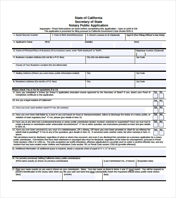 sample notary public form