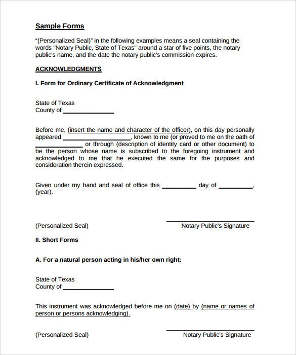 sample notary form statement