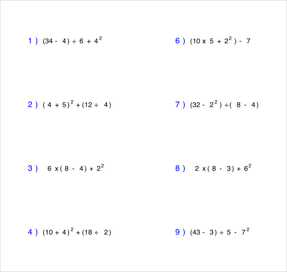 Sample Order of Operations Worksheet 11 Documents in PDF – Operations with Exponents Worksheet