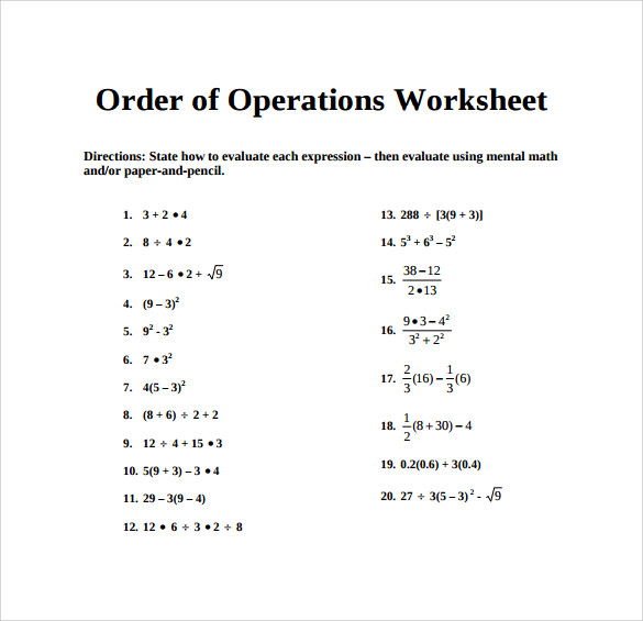 Sample Order of Operations Worksheet - 11+ Documents in PDF