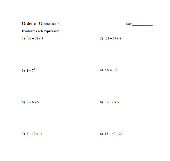 Sample Order of Operations Worksheet 11 Documents in PDF – Order of Operations Worksheet