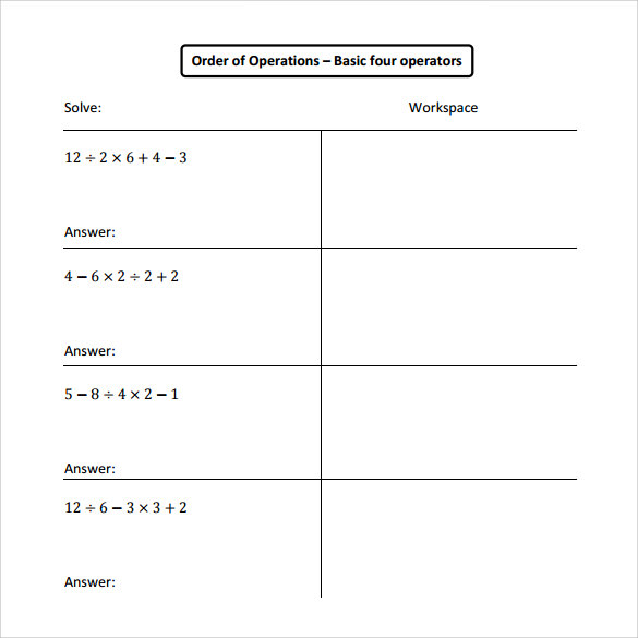 order of operations worksheet 14 download free documents in pdf