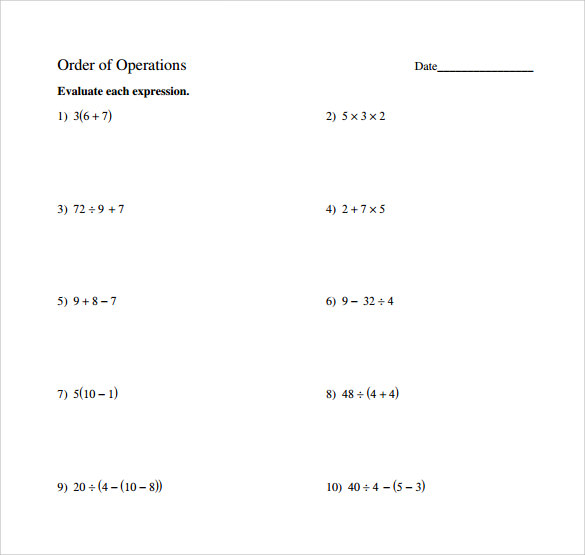 sample order of operations worksheet 14 free documents in pdf word. Black Bedroom Furniture Sets. Home Design Ideas