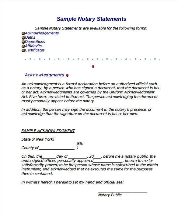 Statement Form In Doc Sample Notary Statement Example Sample Notary