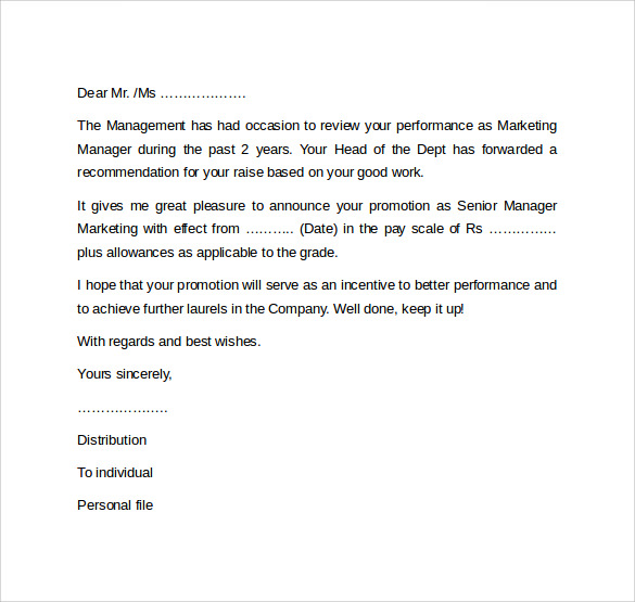sample of promotion letter