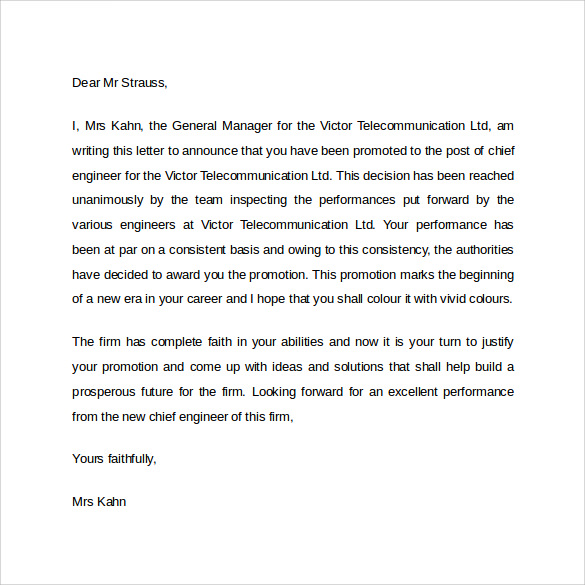 how to write promotion letter