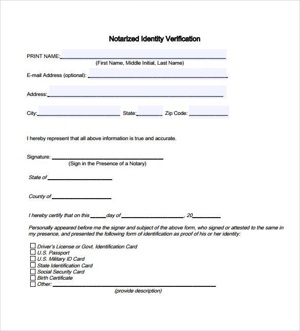 Standard notary statement