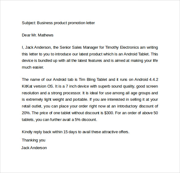 business product promotion letter