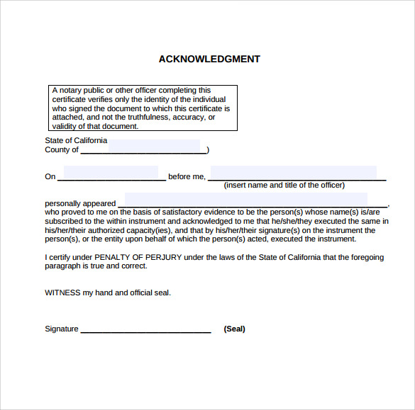 sample notary statement ackowledgement