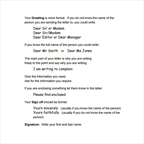 formal letter format template .