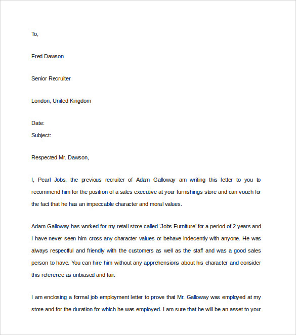 Sample Character Reference Letter   Documents In Pdf Word