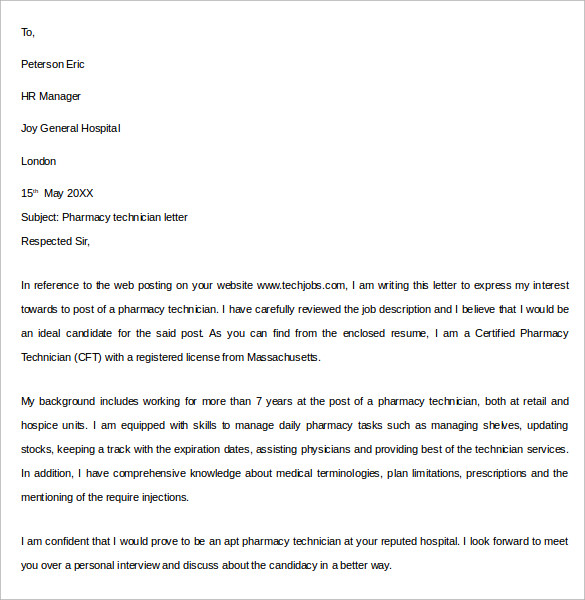 Sample Pharmacy Letter Template   Free Documents In Pdf Word