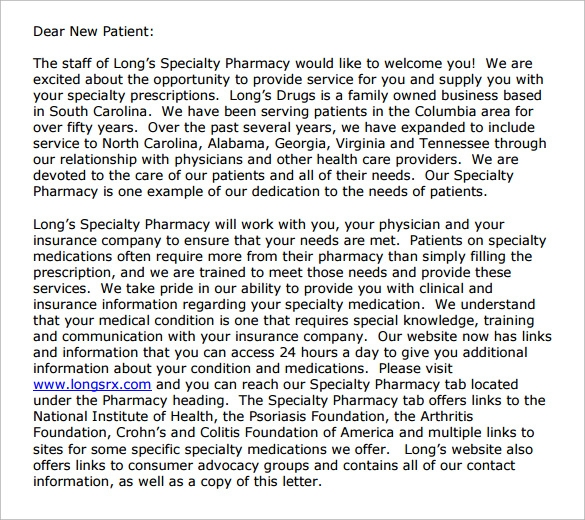 pharmacy welcome letter free download