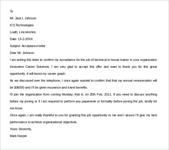 acceptance letter of job example for free