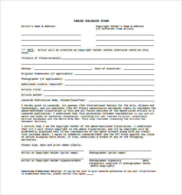 download photography release form template