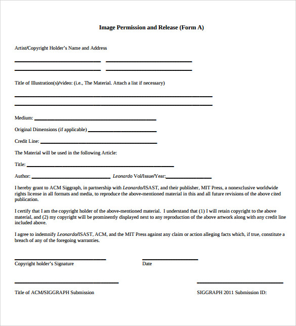 Image Release Form   Download Free Documents In Pdf