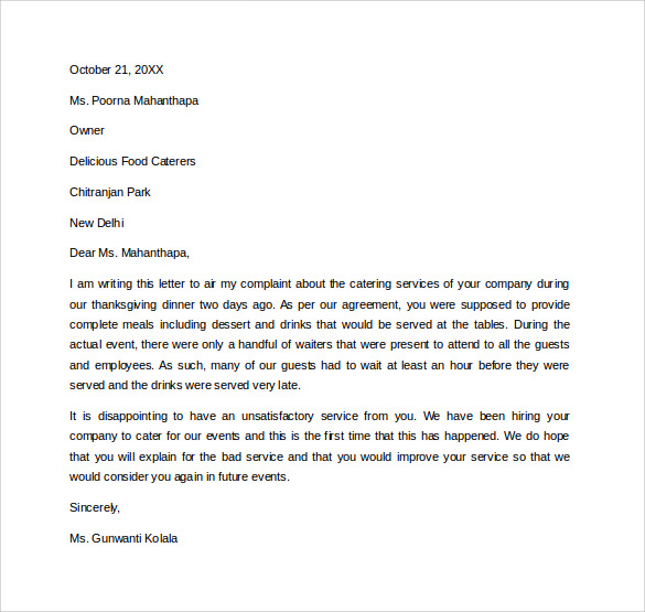 free professional complaint letter example to print in word