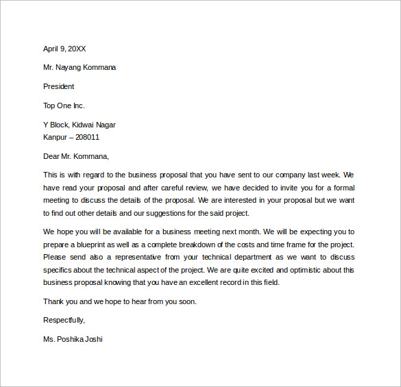 downloadable professional business letter for free in word