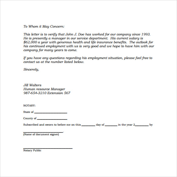free download employment verification letter in pdf