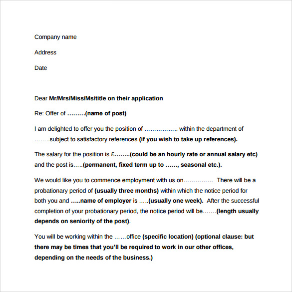 Sample Employment Letter   Free Documents In Word Pdf