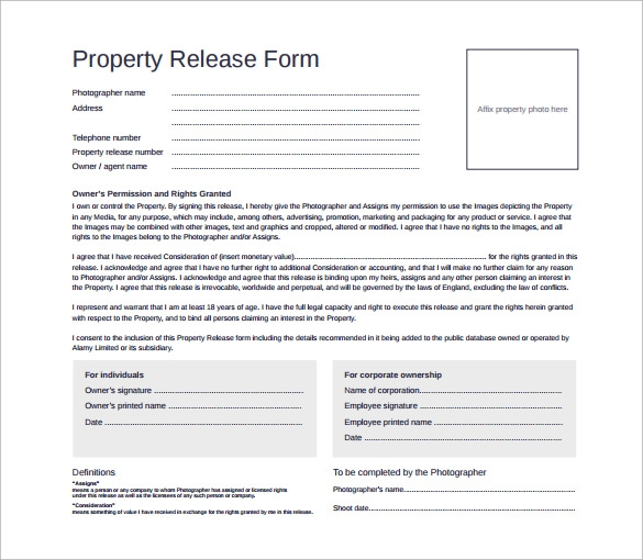 photography property release form free pdf