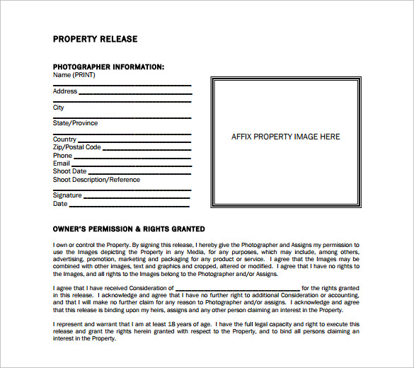 Example Property Release Form Free
