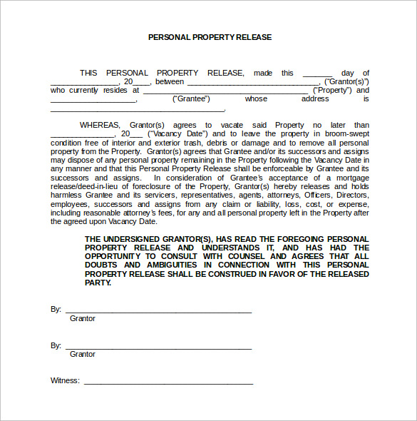 personal property release form in word format