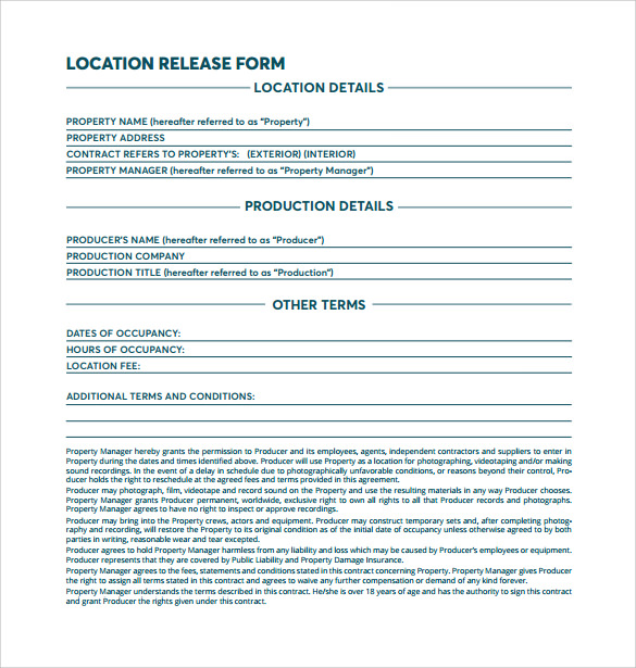 simple location release form free download pdf