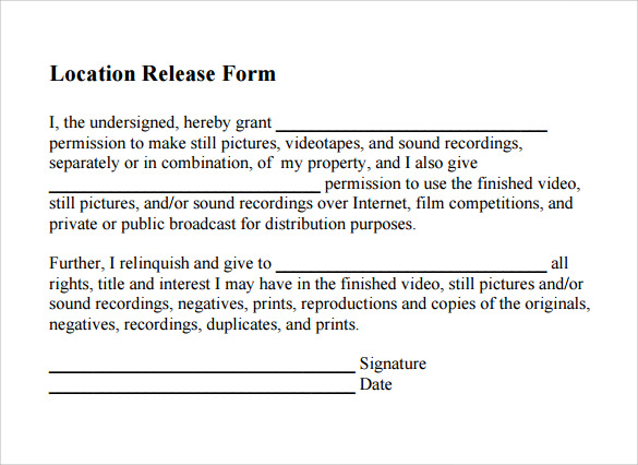 location release form pdf template free download