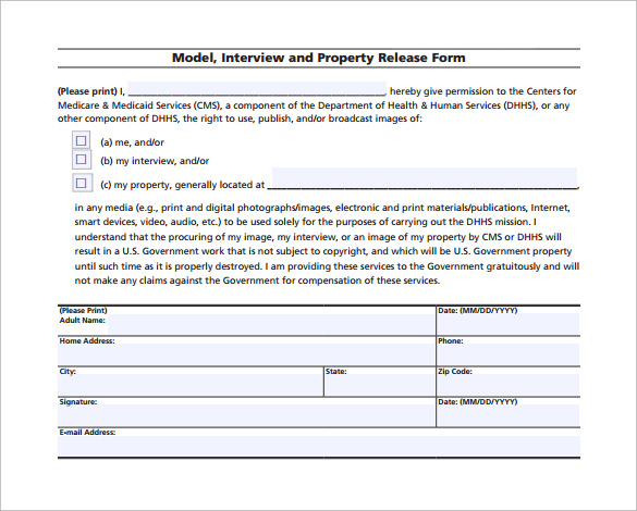 printable property release form free