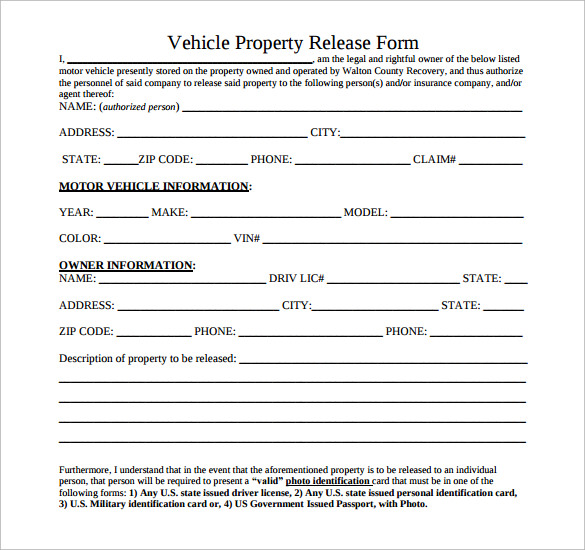 vehicle property release form free download