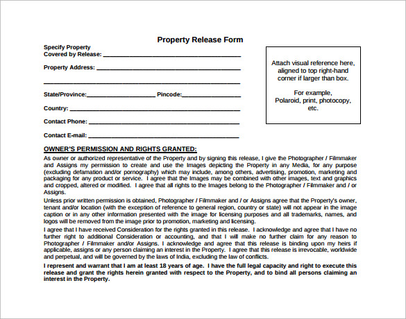 sample property release form free download