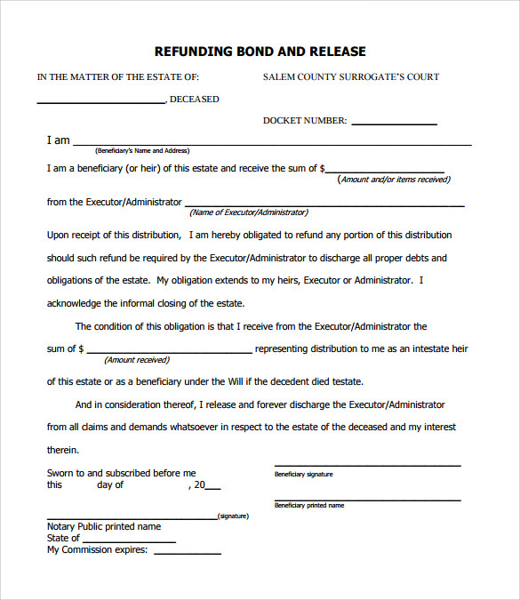 Free Download Bond Release Form PDF  Letter Of Release Form