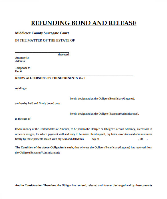 Bond refunding template for Performance bond template