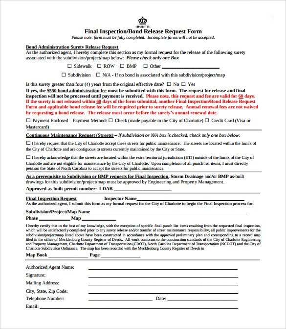 example of bond release form