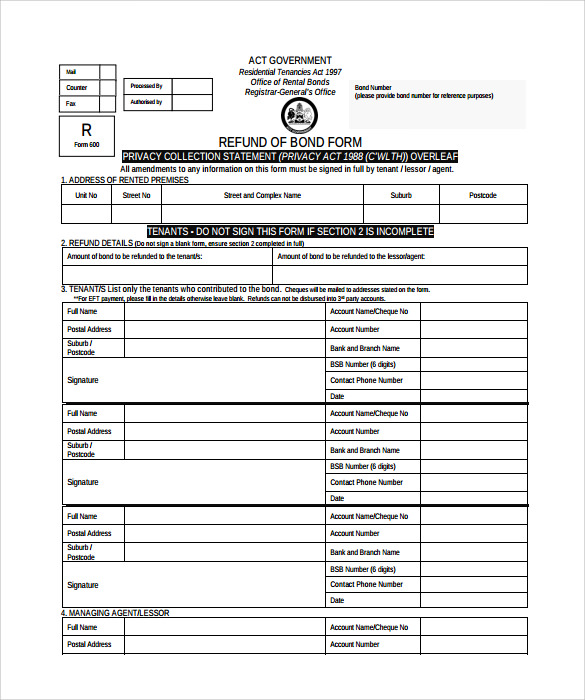bond release form template example