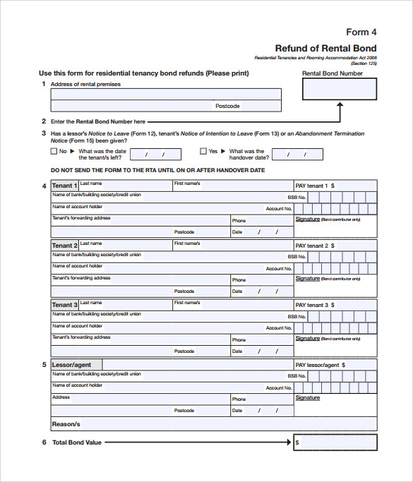 printable bond release form template download
