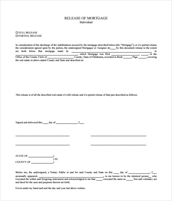 release of mortgage form free pdf