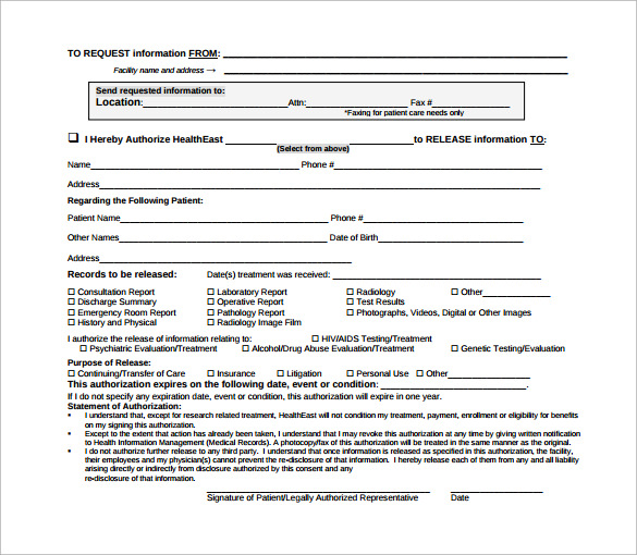 Sample Hospital Release Form   Download Free Documents In Pdf