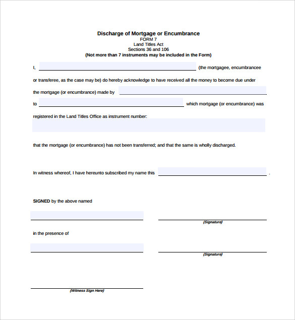 discharge of mortgage form free printable