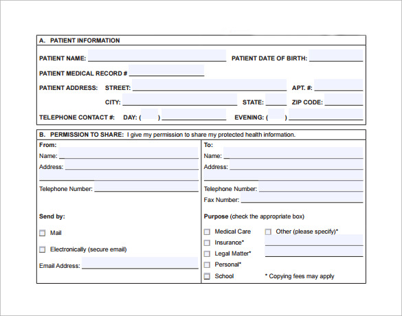 basic hospital release form to download